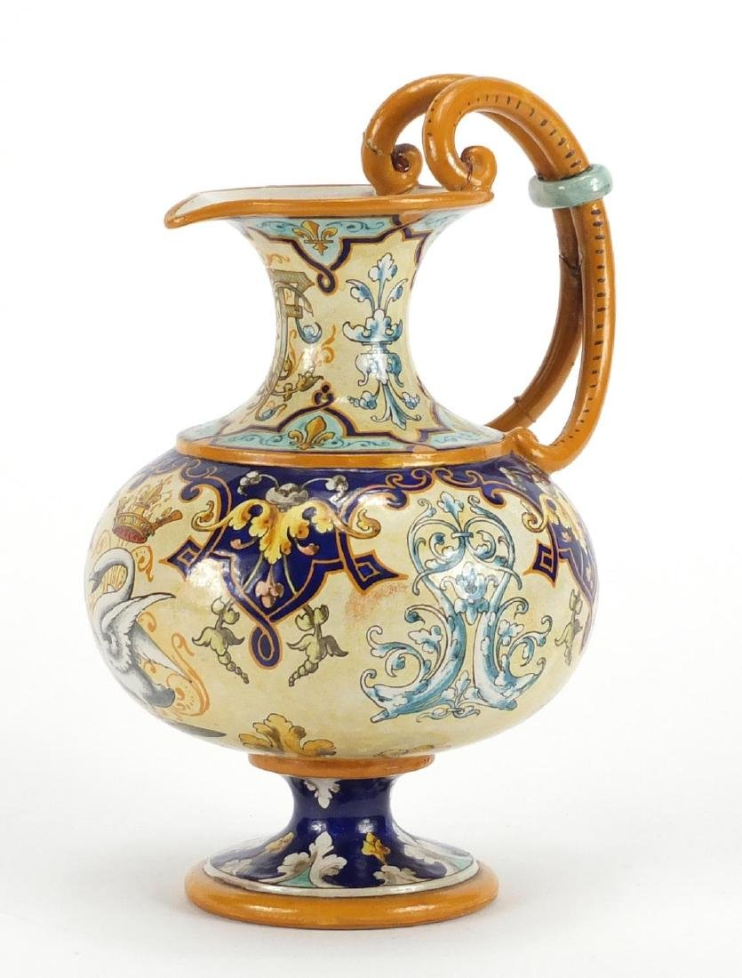 Italian Majolica ewer hand painted with a swan, fish