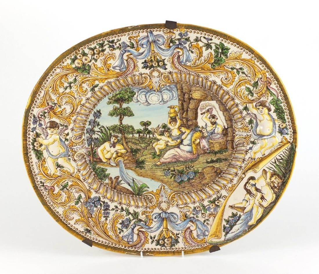 Antique Italian Majolica charger decorated in relief