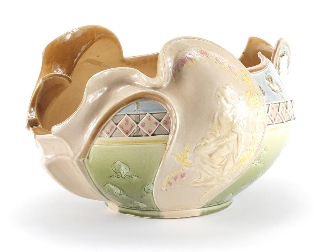 French Art Nouveau majolica pottery centre piece Choisy