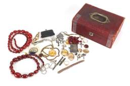 Antique and later jewellery including cherry amber