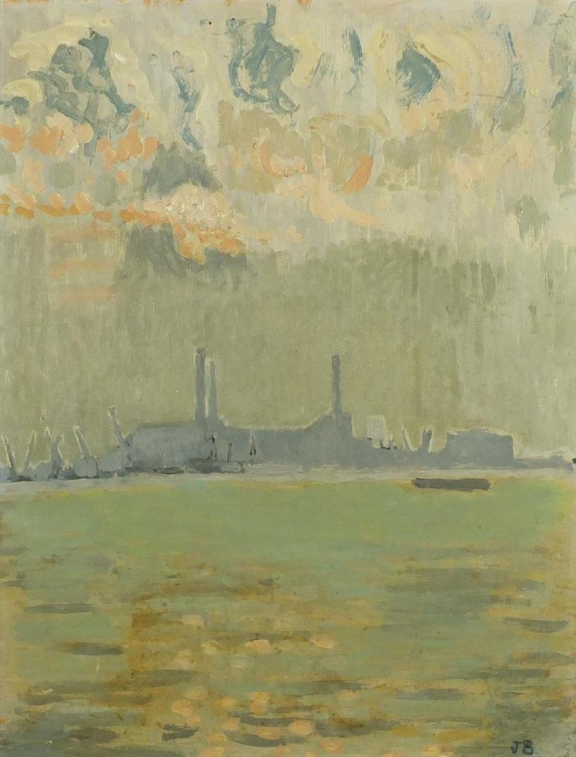 John Bratby - Greenwich power station, oil on board,