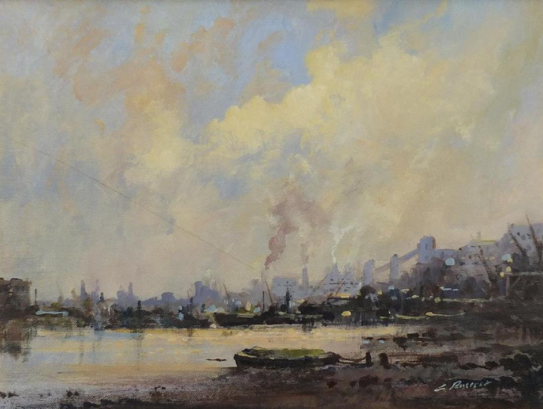 Industrial harbour, impressionist oil on canvas,