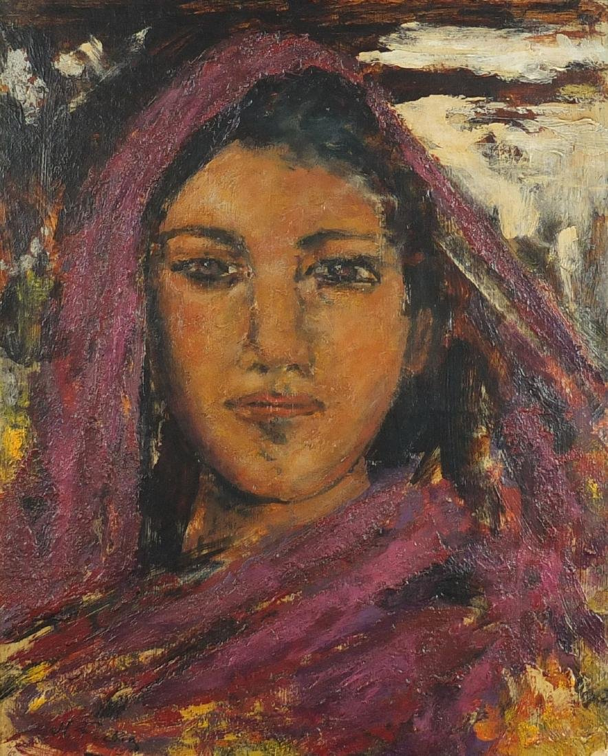 Head and shoulders portrait of an Eastern girl, post