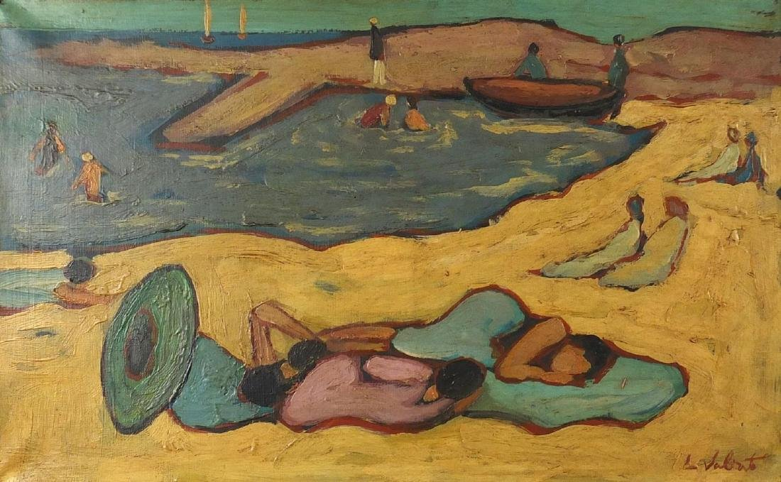 Continental beach scene, post impressionist oil on