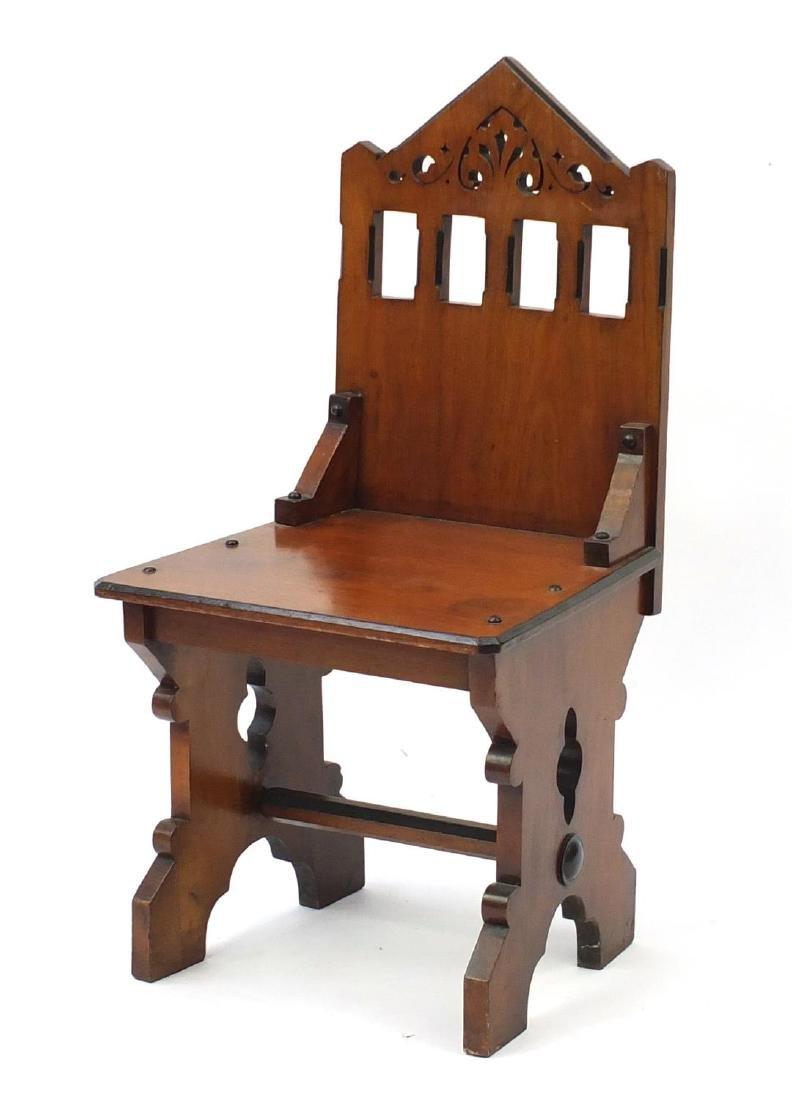 Gothic design walnut hall chair, 90cm high
