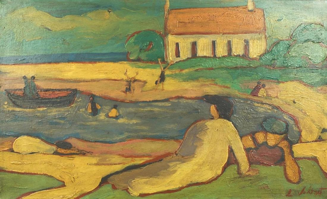 Continental beach scene, post impressionist oil on