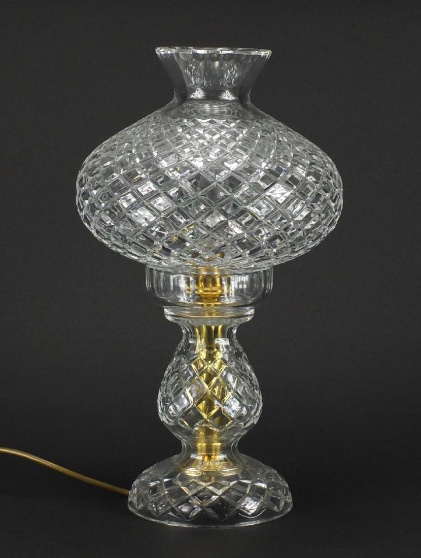 Cut glass toadstool table lamp, 38cm high