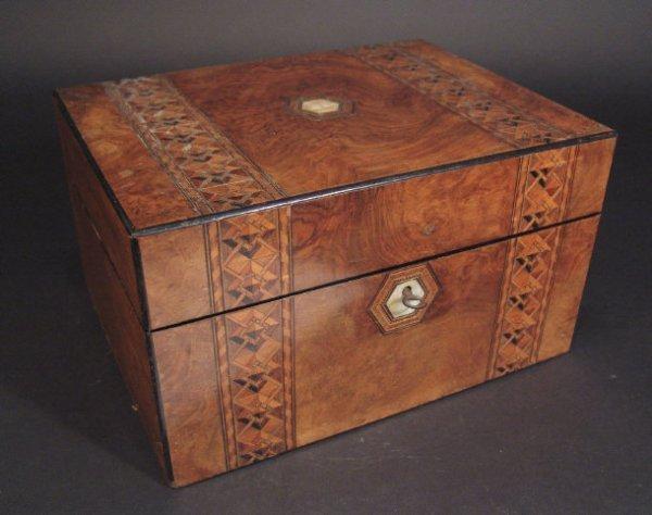 1459: Victorian inlaid walnut toilet box, the velvet li