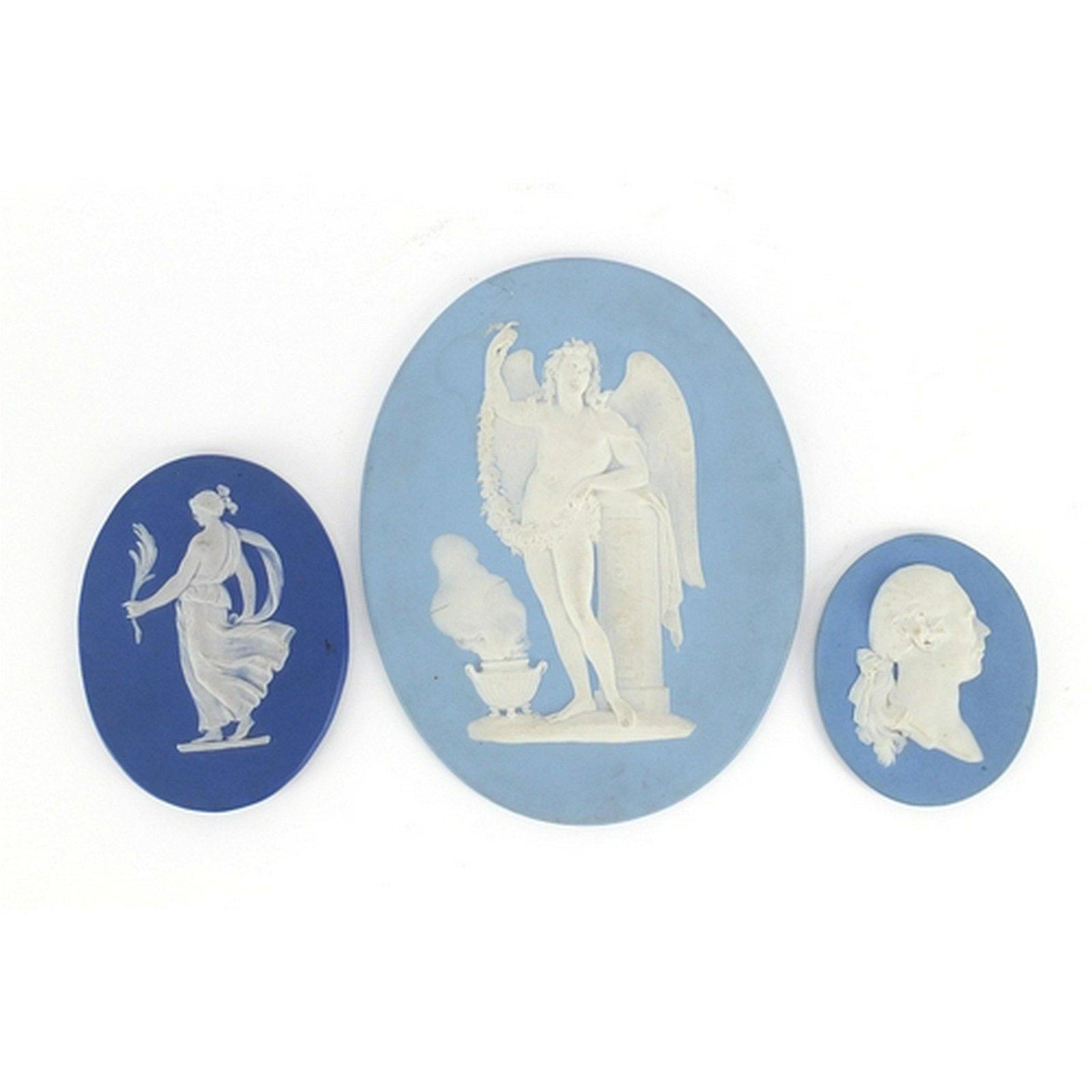 Three 19th century Wedgwood Jasper Ware panels, each