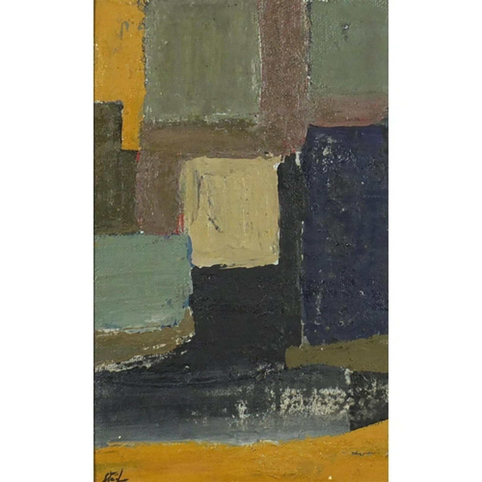 Abstract composition, oil on board, bearing an