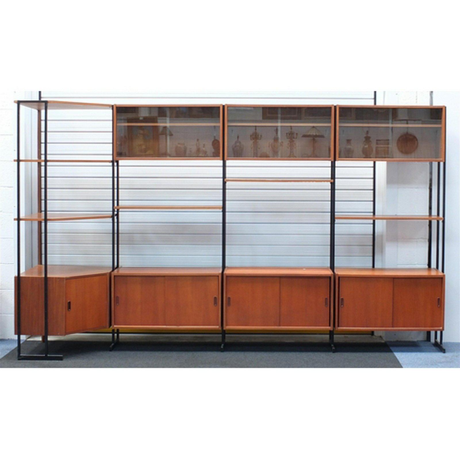 1960's teak Interflex modular corner bookcase, with