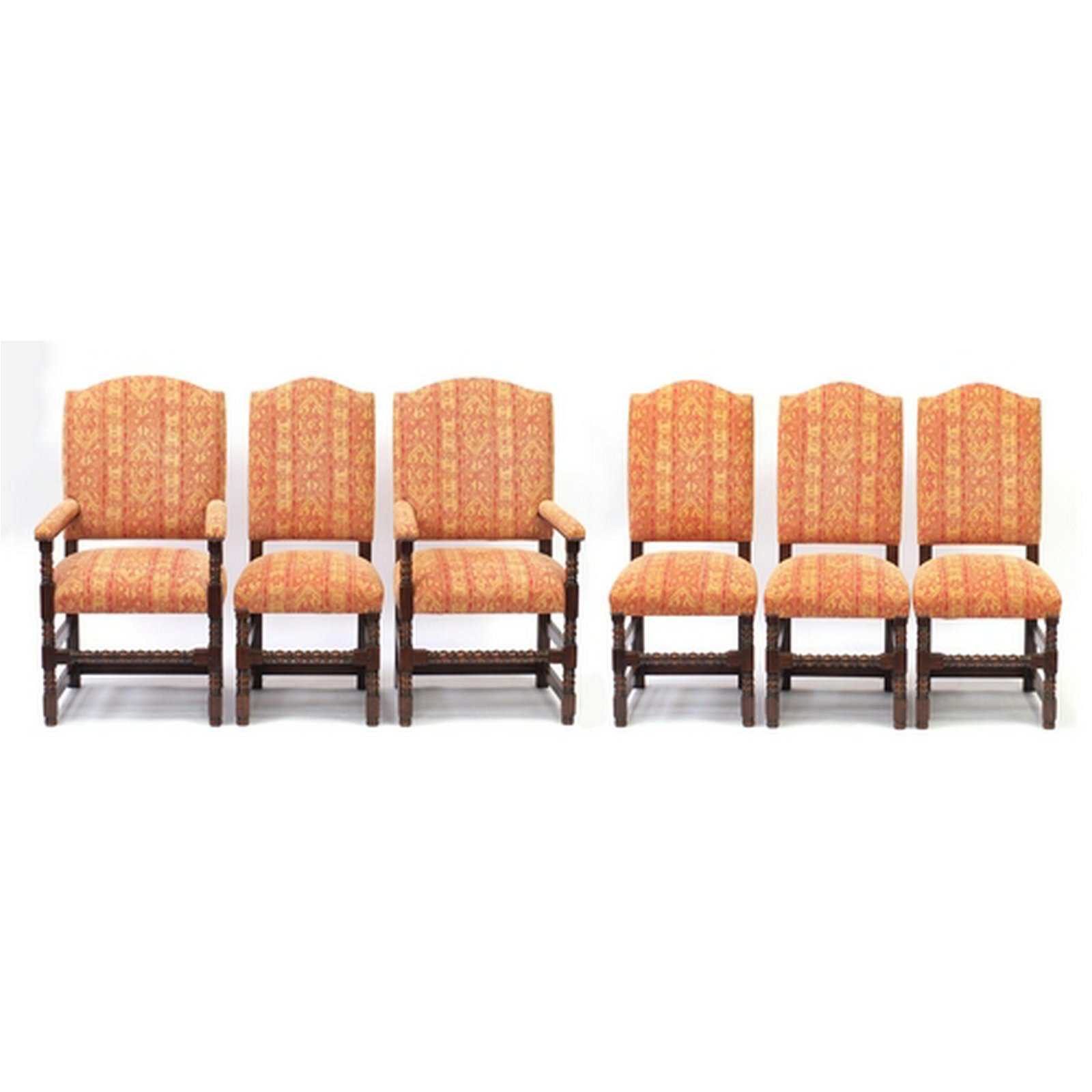 Set of six oak framed dining chairs with bobbin turned