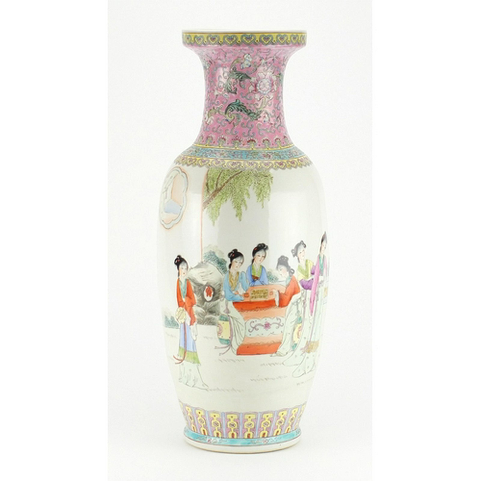 Large Chinese porcelain baluster vase, hand painted in