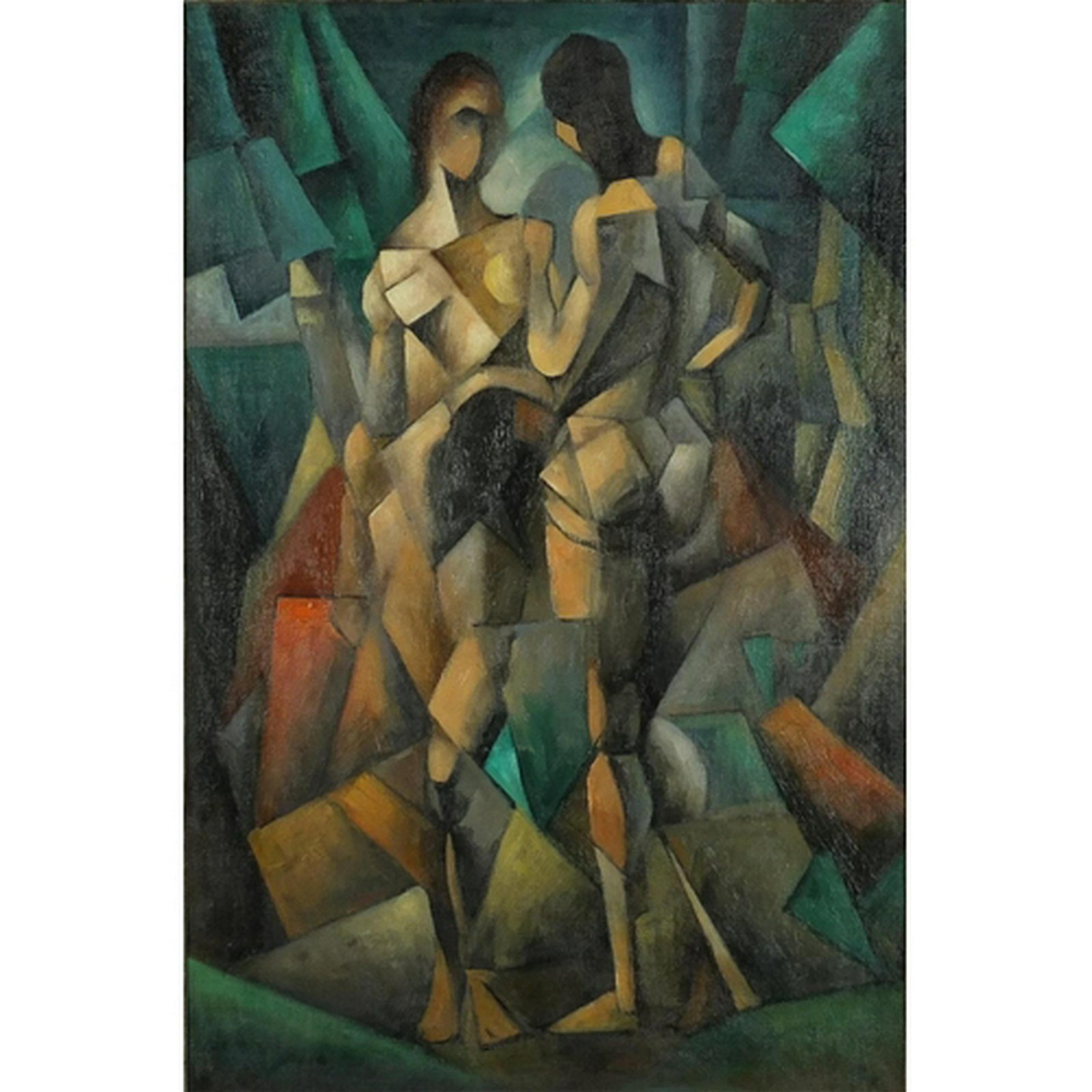 Abstract composition, two cubist figures, oil on board,