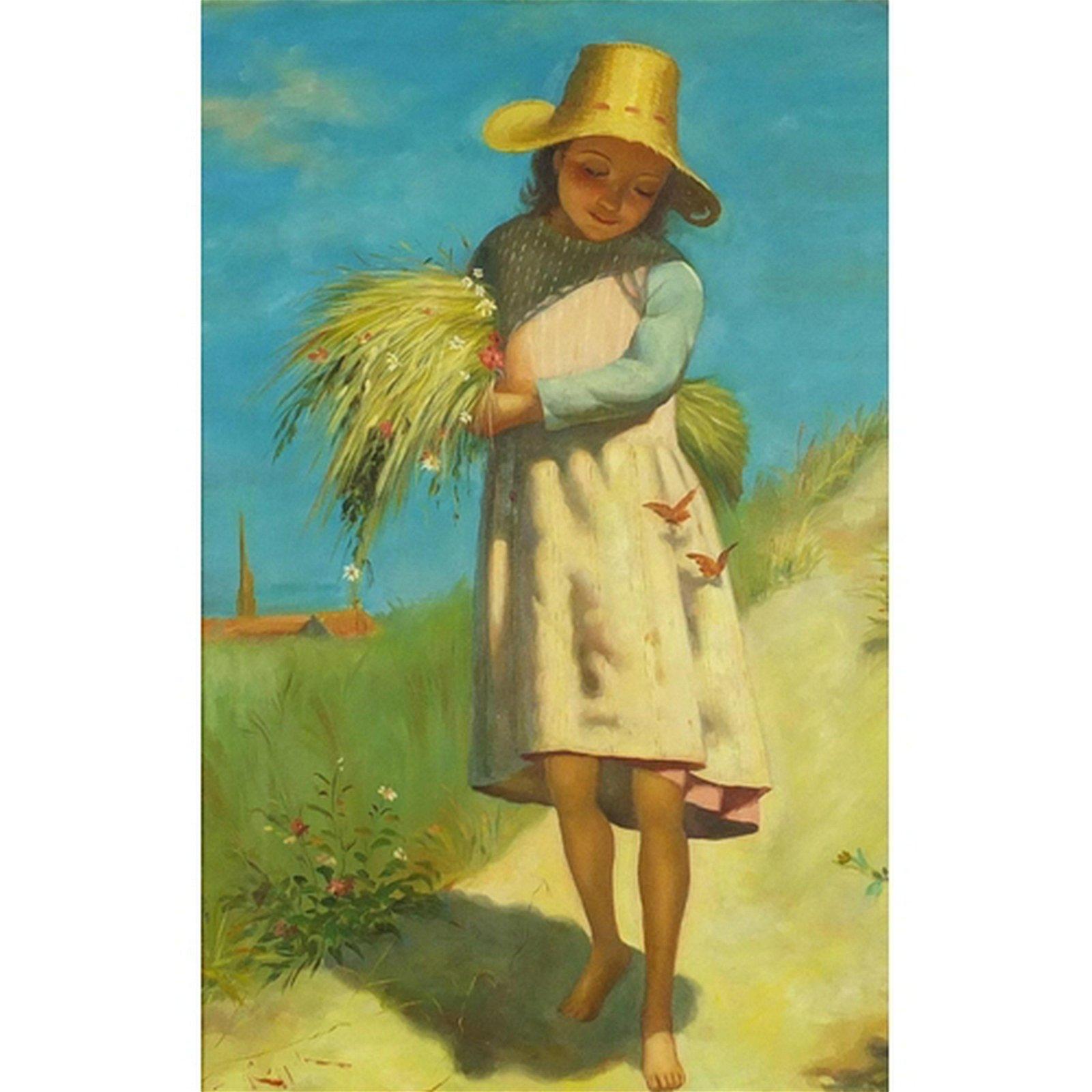 Young girl holding wheat, Italian school oil on board,