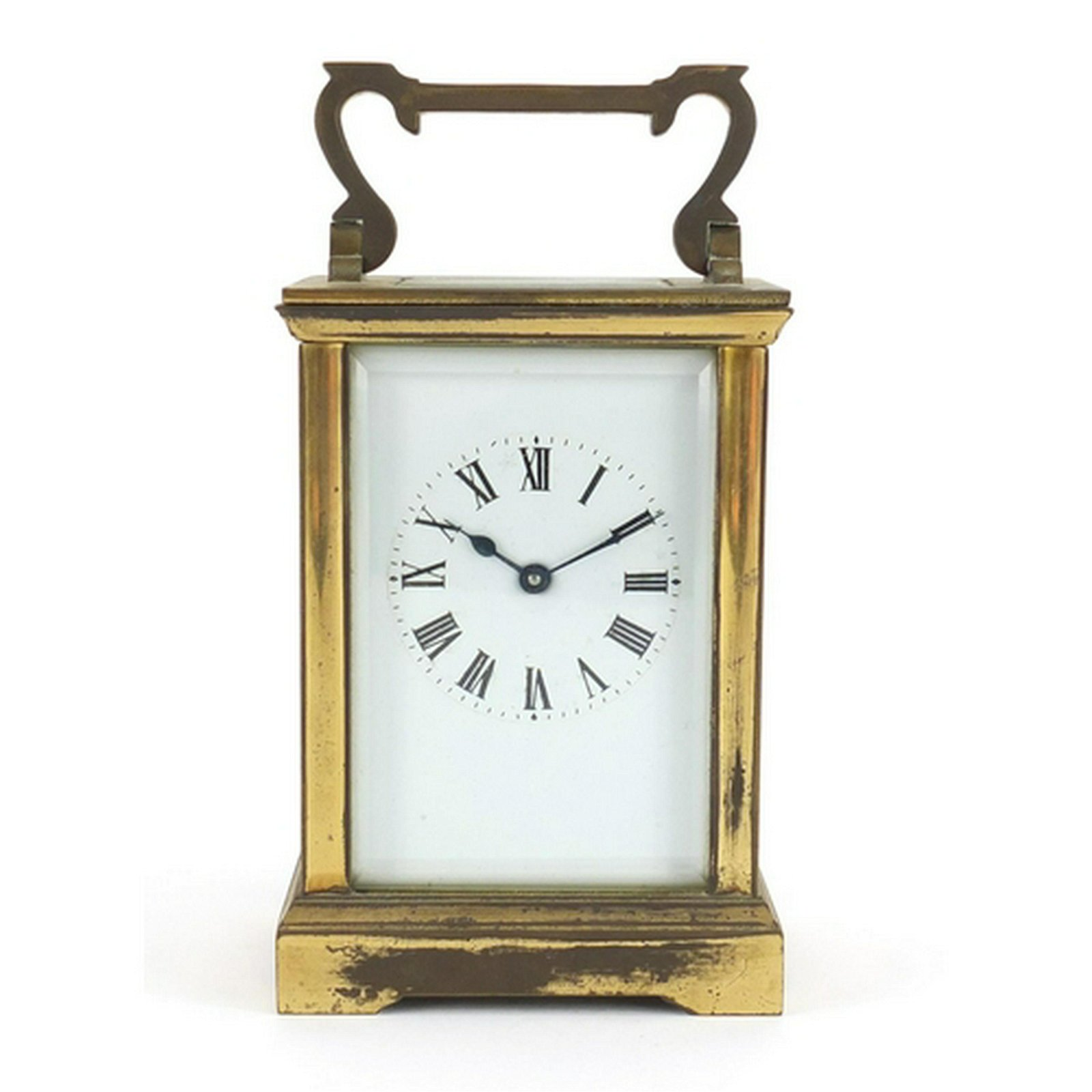 Brass cased carriage clock with enamelled dial and