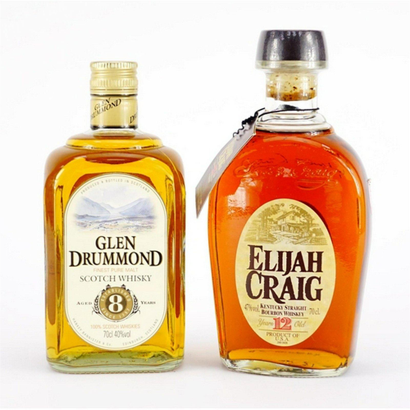 Two bottles of whiskey comprising Elijah Craig 12 years