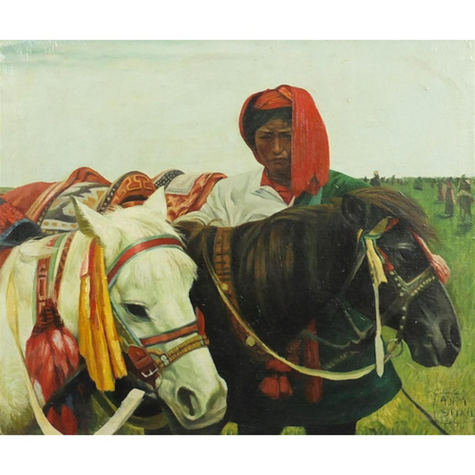 Manner of Adam Styka - Asian man with horses, oil on