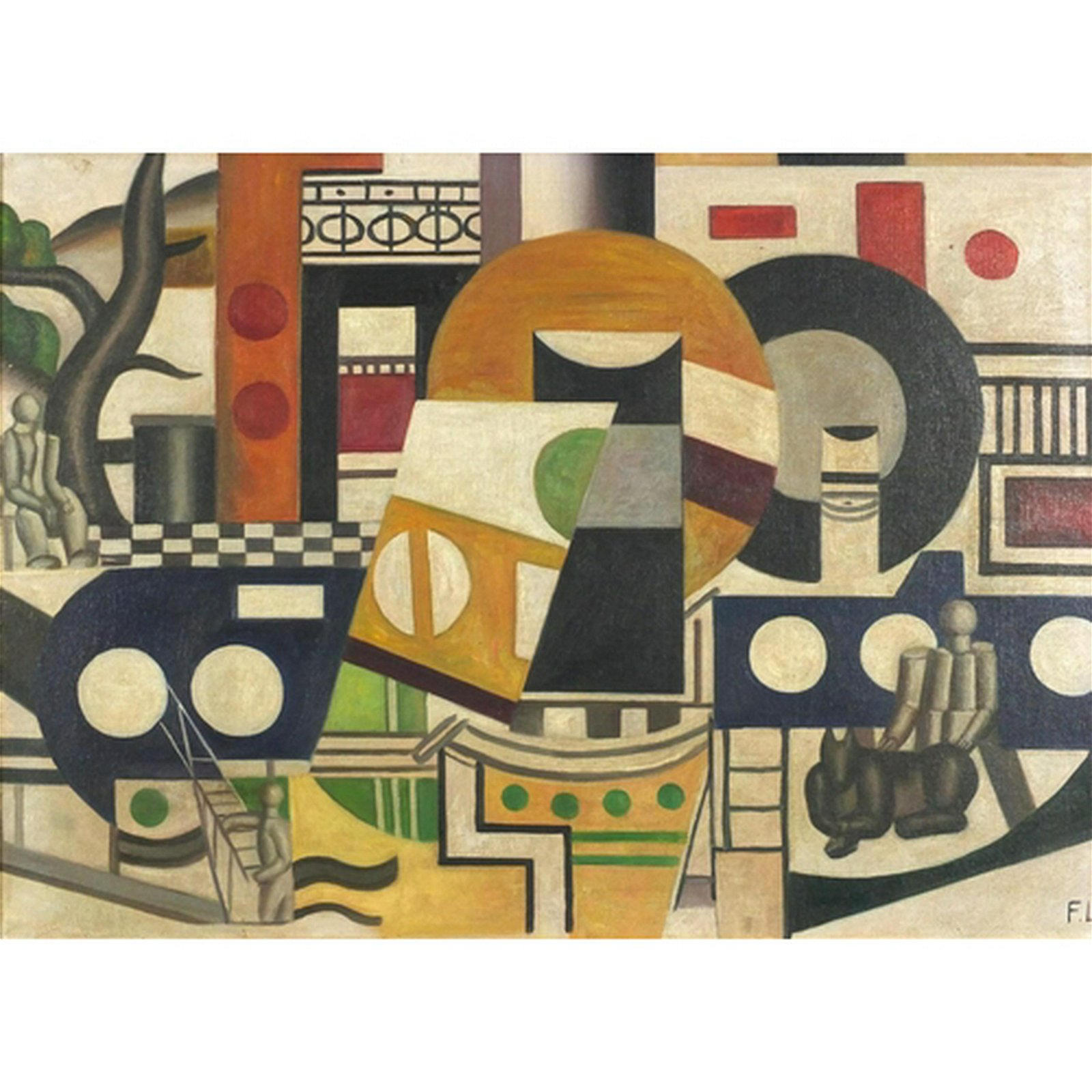 Abstract composition, oil on board, bearing a monogram