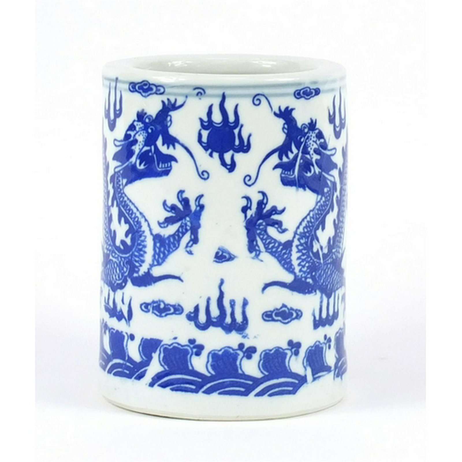 Chinese blue and white porcelain brush pot, decorated