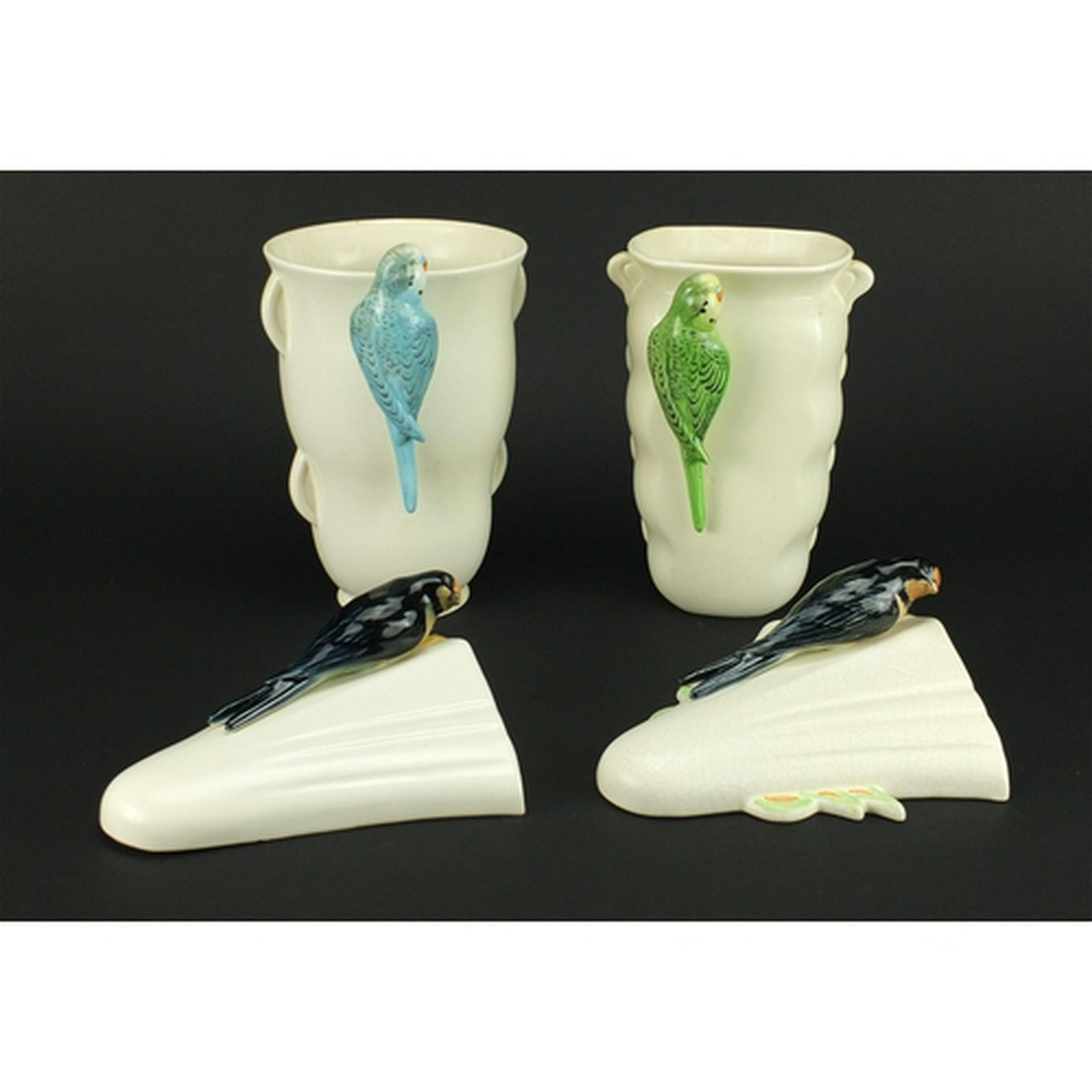 Two Art Deco Sylvac/Falcon Ware vases and a pair of