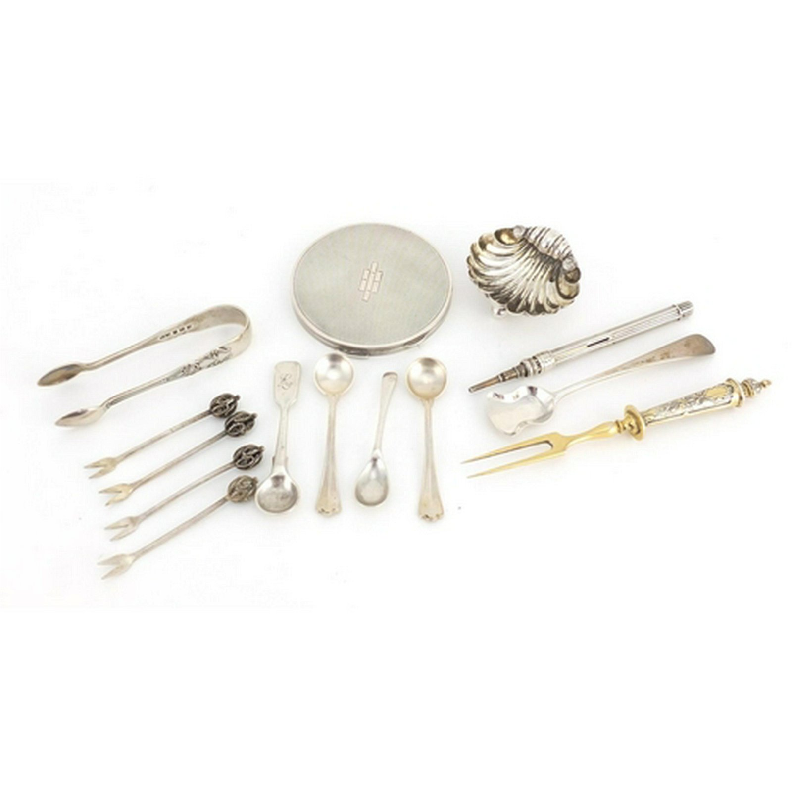 Mostly silver objects including a circular compact,