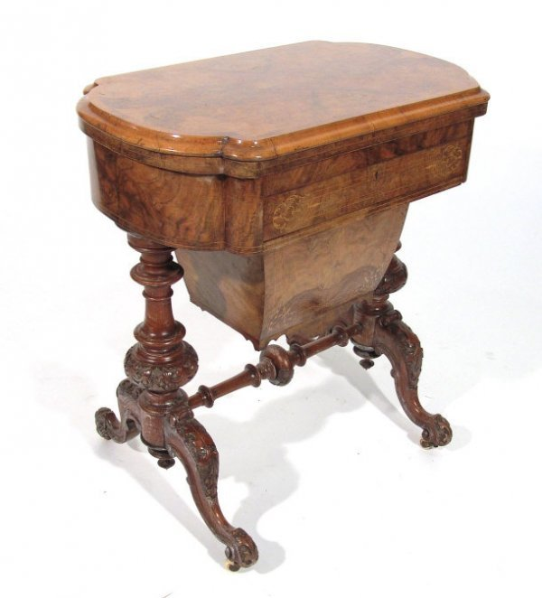 1: Victorian walnut games / work table, the folding top