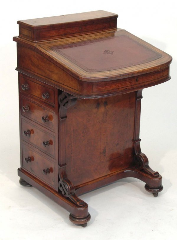 3: Victorian inlaid walnut Davenport, the sloping fall