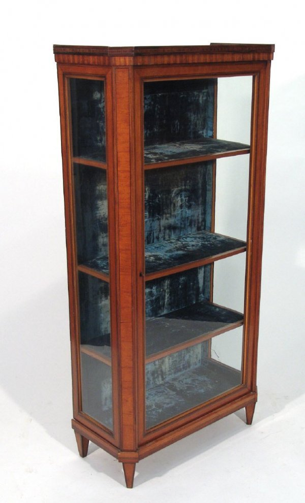 4: Continental inlaid satinwood china cabinet with a gl