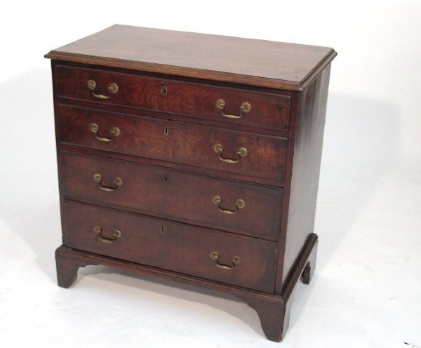 8: George III mahogany chest with cross banded top abov