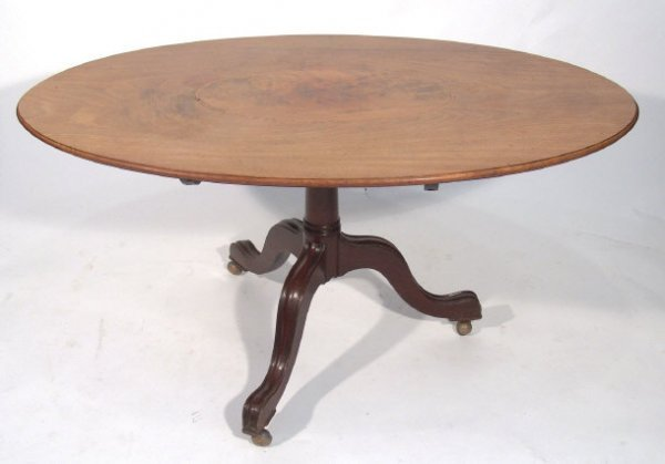 18: Victorian oval inlaid mahogany breakfast table with
