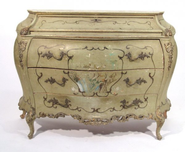 24: Green painted  and gilded bombé commode, with carve