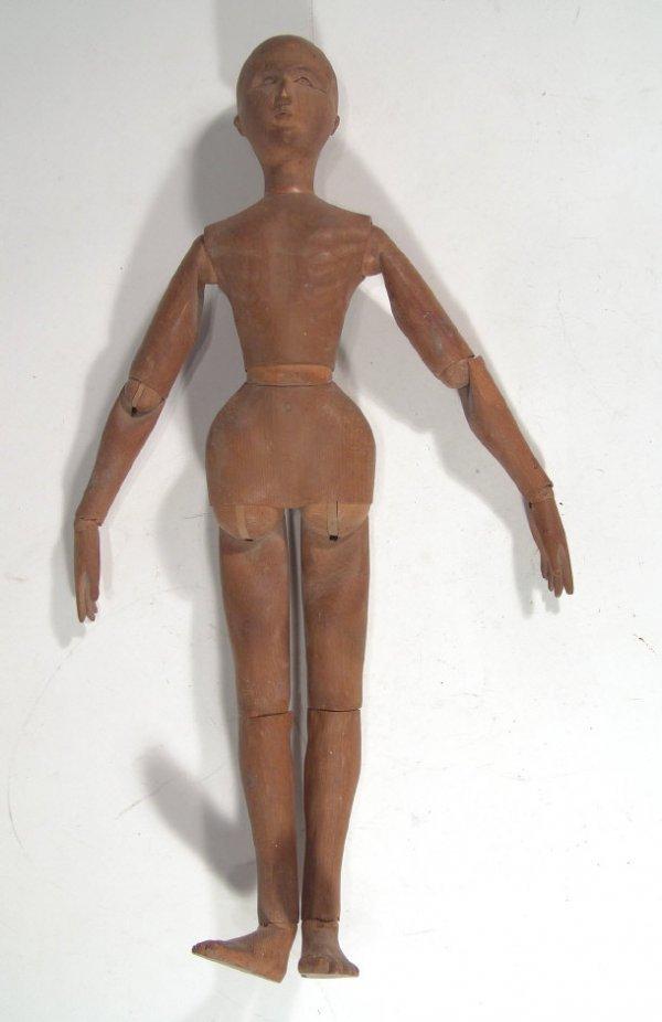 521: Old adjustable wooden artist's figure, 47cm high
