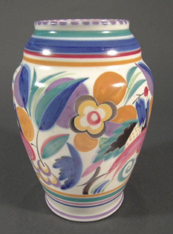 1270: Poole pottery vase hand painted with stylised flo