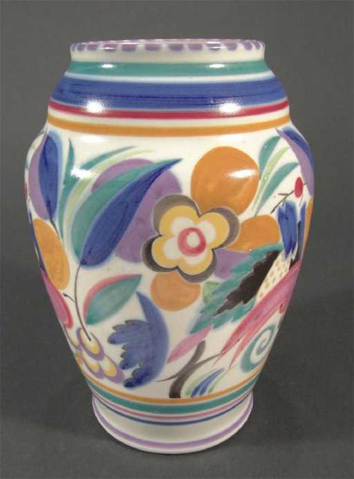 1270 Poole Pottery Vase Hand Painted With Stylised Flo
