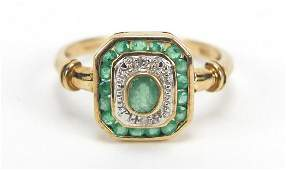 Art Deco style 9ct gold emerald and diamond ring, size
