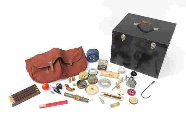Vintage fishing tackle including flies, tackle bag,