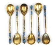 Set of six Russian silver gilt and enamel teaspoons,