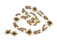 Gilt metal, garnet and fresh water pearl necklace with
