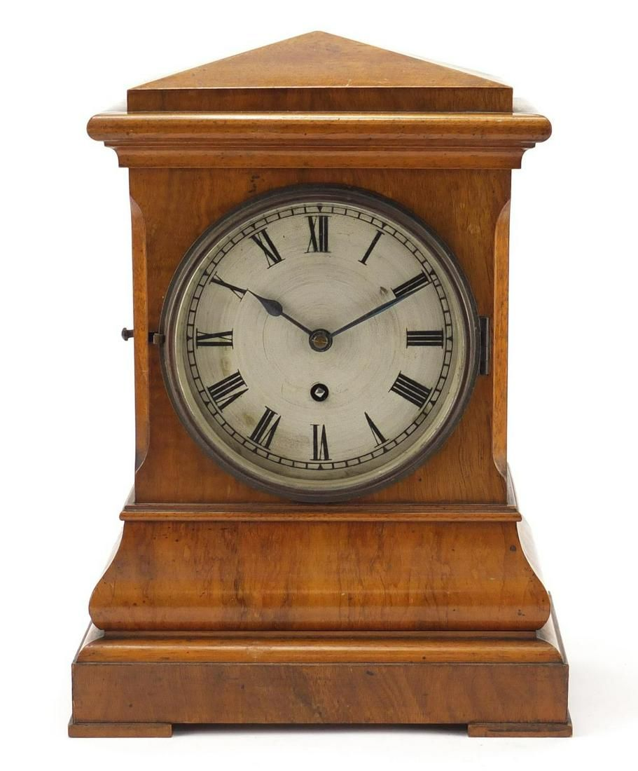 German walnut cased bracket clock with Lenzkirch