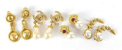 Designer costume earrings including Coco Chanel and