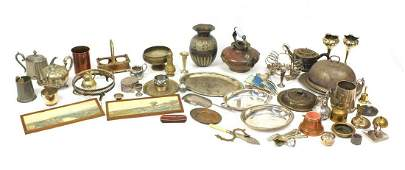 Metalware including Victorian silver plated teapots,