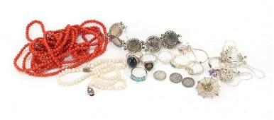 Costume jewellery including silver rings, coral