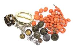 Costume jewellery including a coral necklace, marcasite