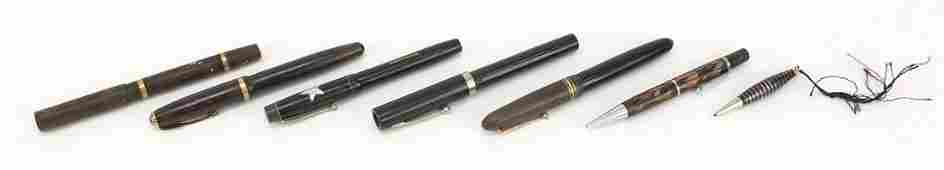 Four vintage fountain pens with 14ct gold nibs, two