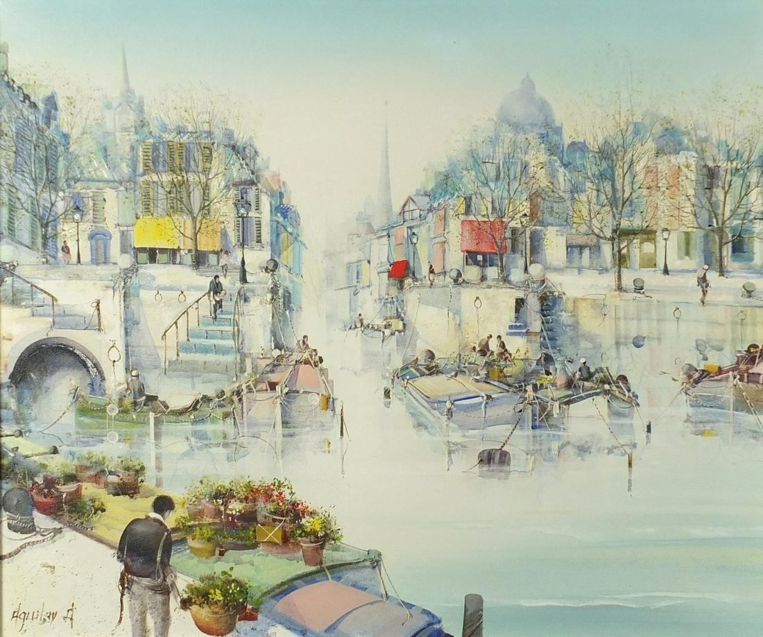 Venetian Scene, oil on canvas, bearing an indistinct