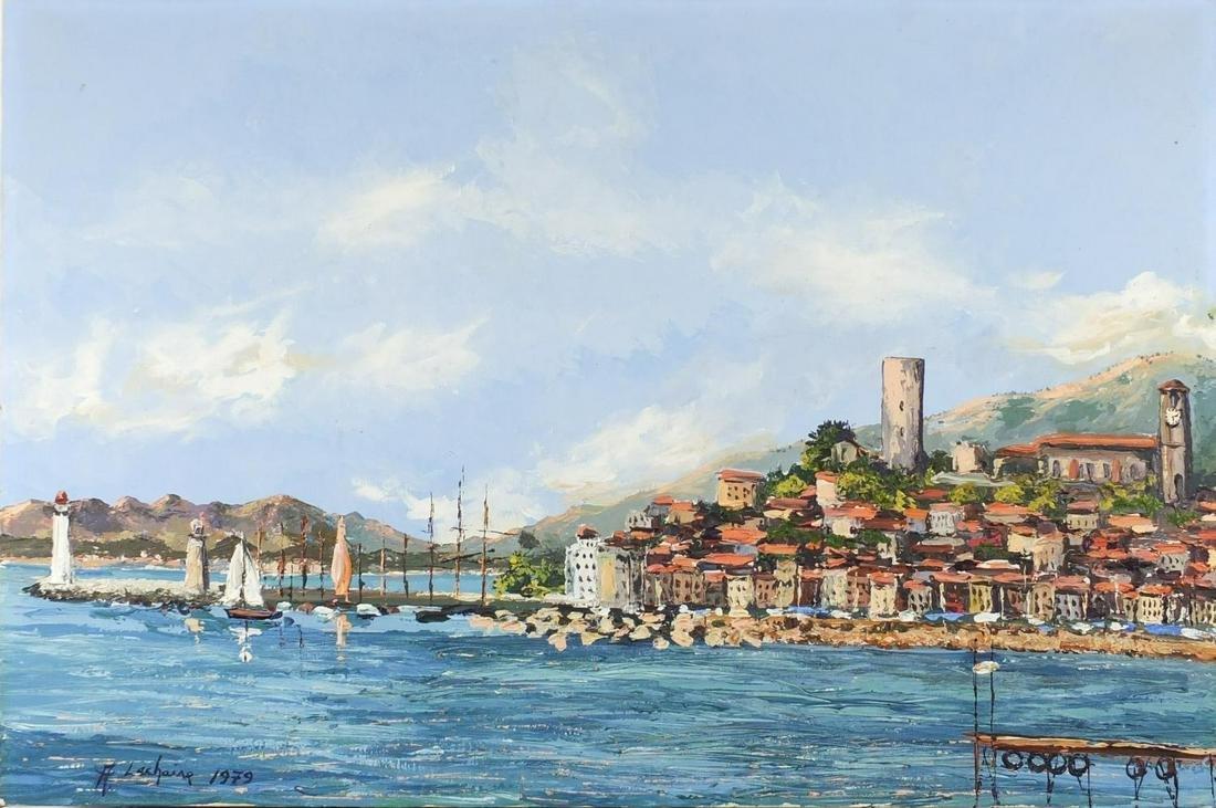 A Lechaine - Continental harbour, oil onto canvas,