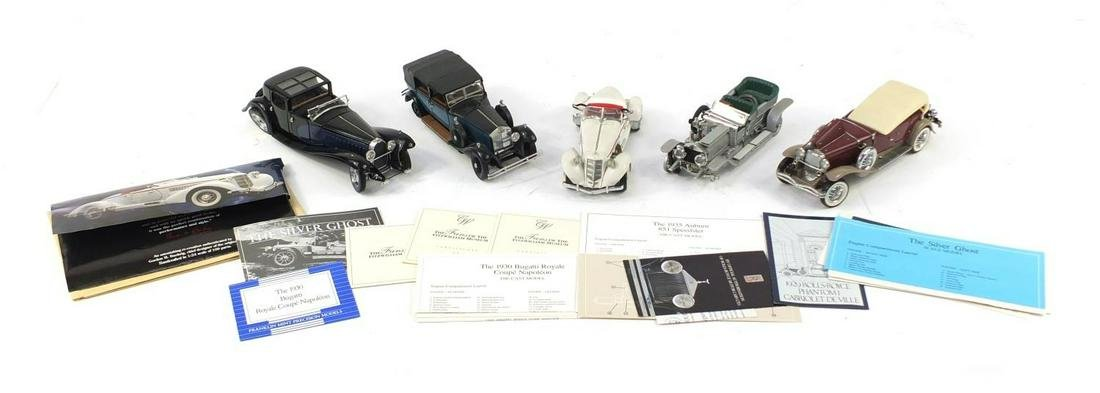 Five Franklin Mint die cast vehicles including 1930