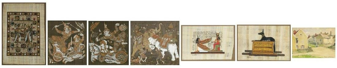 Seven pictures including three Thai paintings on silk