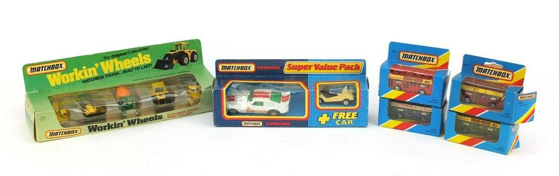 Vintage Matchbox die cast vehicles with boxes including